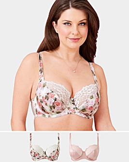 2 Pk Laura Floral/Pnk Full Cup Wired Bra