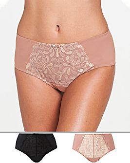 2Pk Annabel Palm Embroidered Midi Briefs