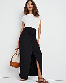 Black Stretch Jersey Maxi Wrap Skirt