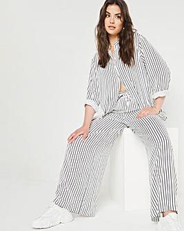 Navy Stripe Soft Spun Viscose Trouser