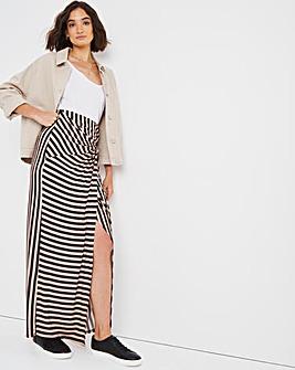 Jersey Striped Maxi Wrap Skirt