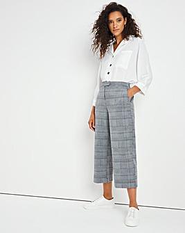 Checked Crop Straight Leg Trouser
