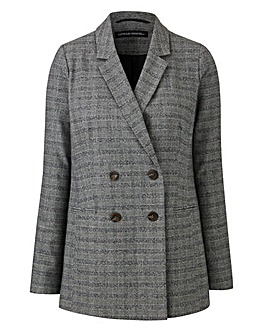 Petite Check Double Breasted Blazer