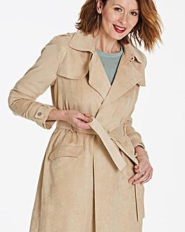 Longline Suedette Camel Trench Coat