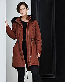 Plain Cotton Parka with Faux Fur Hood