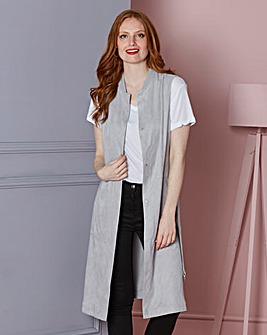 Longline Suedette Belted Sleeveless Jacket