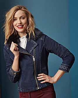 Embroidered Denim Biker Jacket With Detachable Fur Collar