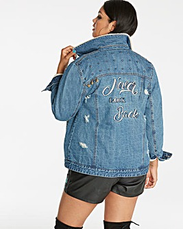 Borg Lined Embroidered Denim Jacket