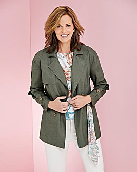 Linen Blazer with Scarf Detail