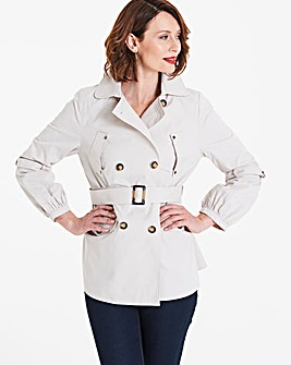 Stone Cropped Cotton Trench Jacket