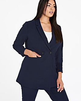 Ruched Sleeve Double Breasted Blazer