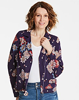 Lightweight Print Biker Jacket