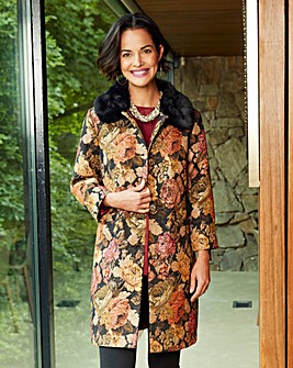 Tapestry Coat With Faux Fur Collar