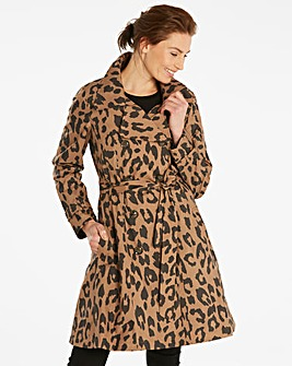 Print Fit and Flare Trench Coat