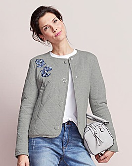 Embroidered Quilted Jersey Crop Jacket