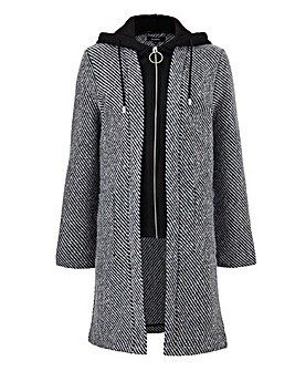 Textured Wool Look Coat With Mock Knit Placket