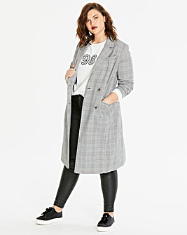 Grey Check Longline Blazer