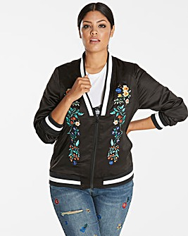 Embroidered Deep v Bomber