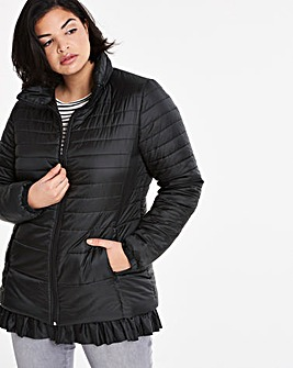 Frill Hem Padded Jacket with Faux Fur