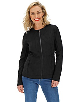 Black Suedette Collarless Jacket