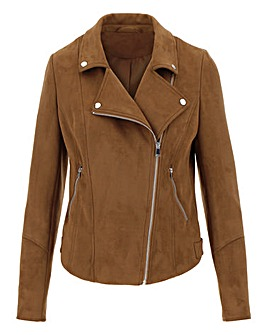 Tan Suedette Biker Jacket