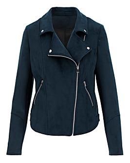 Navy Suedette Biker Jacket