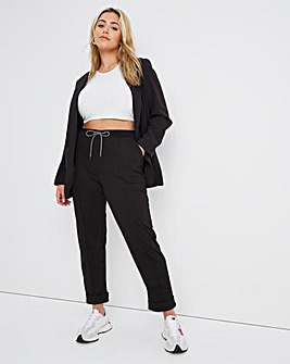 Black Tapered Leg Ponte Jogger with Contrast Tie Waist