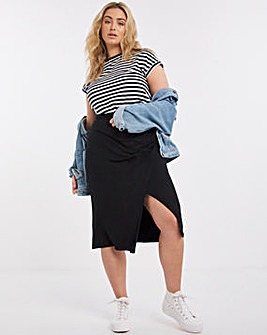 Black Ruched Jersey Pencil Skirt