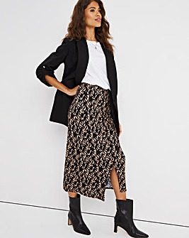 Printed Ruched Jersey Pencil Skirt