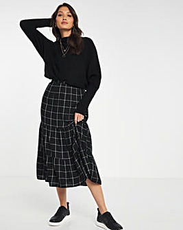 Checked Tiered Midi Skirt