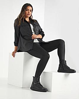 Premium Black Animal Super Stretch Wet Look Leggings Regular