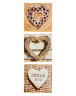 Arthouse Rustic Hearts Set of 3 Prints