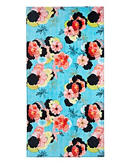 Turquoise Floral Beach Towel