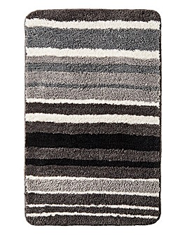 Oslo Stripes Bath Mat Black & White