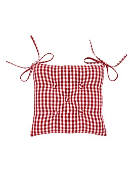Gingham Check Cotton Seat Pad Red