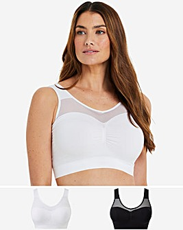 Pretty Secrets 2 Pack Black/White Sleep Tops