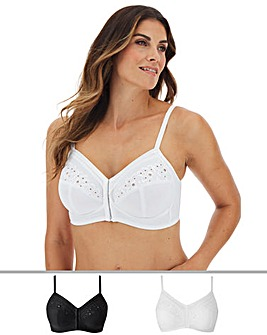 Naturally Close Rose Black/White Full Cup Front Fastening Midi Bras