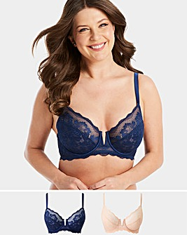 2PK Katie Blush/Navy Lace Full Cup Bras