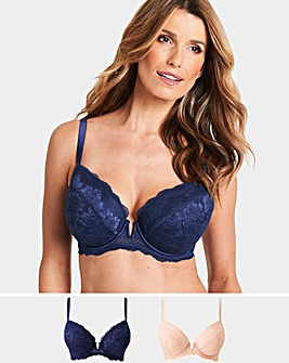 Pretty Secrets 2 Pack Katie Blush/Navy Padded Plunge Bras