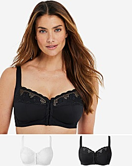 Naturally Close Elana 2 Pack Black/White Front Fastening Full Cup Bra
