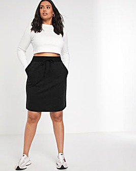 Elasticated Pull On Skirt With Tie Waist