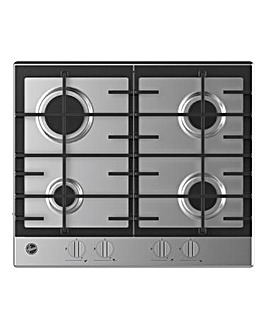 Hoover HMK6GRK3X 60cm Stainless Steel Gas Hob