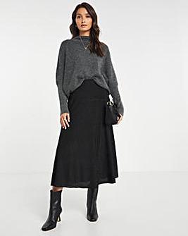 Glitter Knit Relaxed A Line Midi Skirt