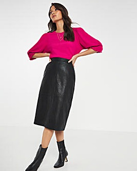 Lined Tailored PU A Line Skirt