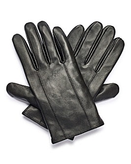 Black Basic Leather Gloves