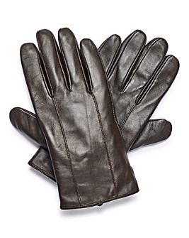 Brown Basic Leather Gloves