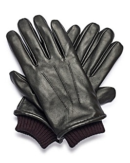 Black Cuffed Leather Gloves