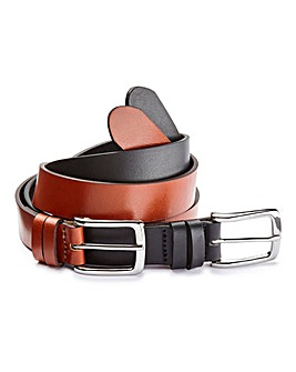 Pack of 2 Slim Leather Belts