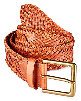 Capsule Tan Plaited Leather Belt