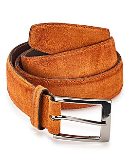 Tan Suede Effect Leather Belt